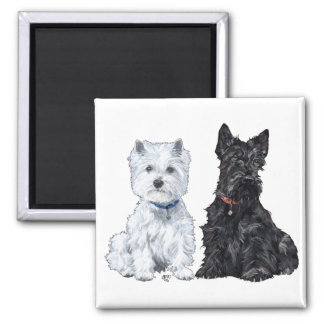 West Highland White & Scottish Terriers 2 Inch Square Magnet