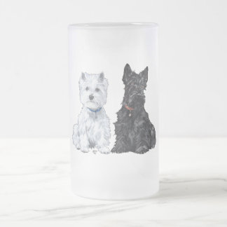 West Highland White & Scottish Terriers Frosted Glass Beer Mug