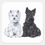 West Highland White & Scottish Terriers Square Sticker