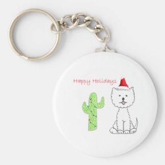 West Highland White Terrier Cactus Christmas Basic Round Button Keychain