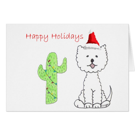 West Highland White Terrier Cactus Christmas Card