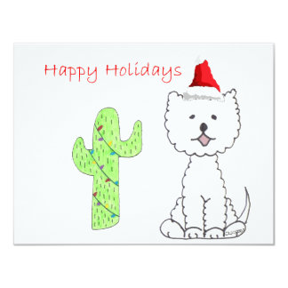 West Highland White Terrier Cactus Christmas 4.25x5.5 Paper Invitation Card