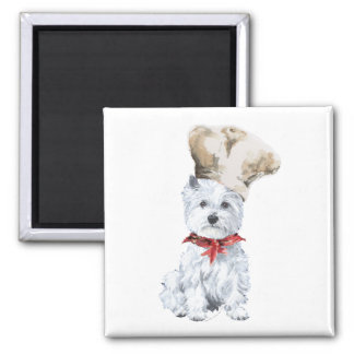 West Highland White Terrier Chef 2 Inch Square Magnet