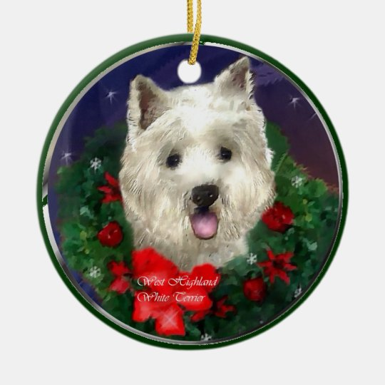 West Highland White Terrier Christmas Ceramic Ornament