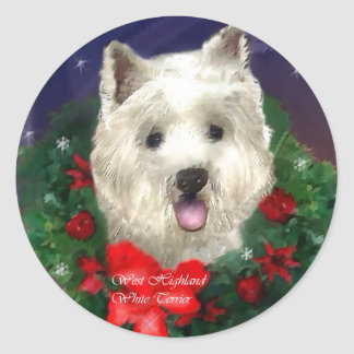 West Highland White Terrier Christmas Gifts Classic Round Sticker