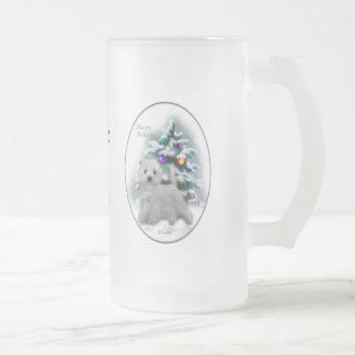 West Highland White Terrier Christmas Gifts Frosted Glass Beer Mug