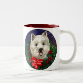 West Highland White Terrier Christmas Gifts Two-Tone Coffee Mug