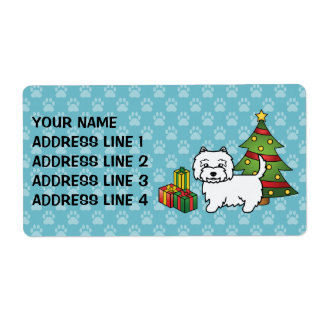 West Highland White Terrier Christmas Shipping Label