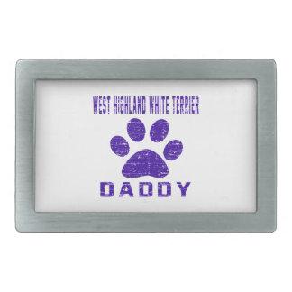 West Highland White Terrier Daddy Gifts Designs Rectangular Belt Buckles