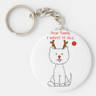 West Highland White Terrier Dear Santa Basic Round Button Keychain