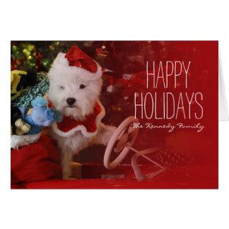 West Highland White Terrier dog as Santa Claus Card