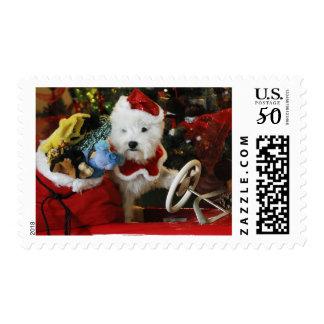 West Highland White Terrier dog as Santa Claus Postage