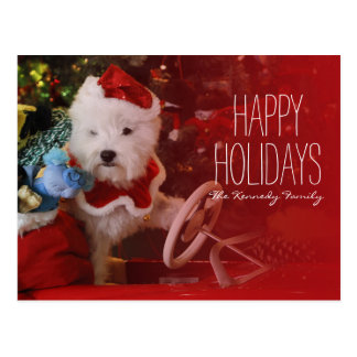 West Highland White Terrier dog as Santa Claus Postcard