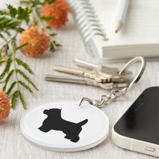 West Highland White Terrier dog black silhouette Keychain