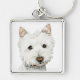 West Highland White Terrier Dog Silver-Colored Square Keychain