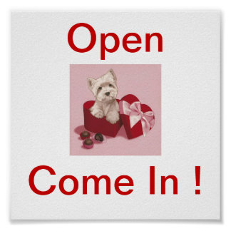 West Highland White Terrier Dog Open Sign Poster