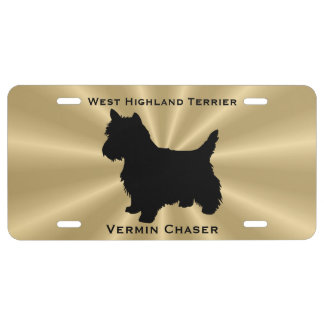 West Highland White Terrier Dog Silhouette License Plate
