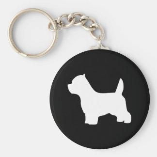 West Highland White Terrier dog, westie silhouette Basic Round Button Keychain