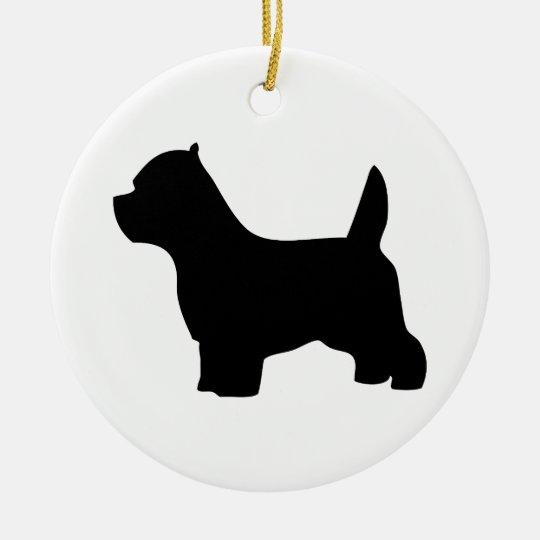 West Highland White Terrier dog, westie silhouette Ceramic Ornament