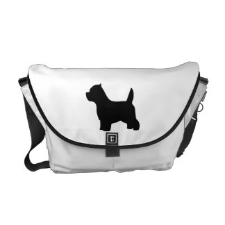 West Highland White Terrier dog, westie silhouette Courier Bag