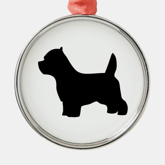 West Highland White Terrier dog, westie silhouette Metal Ornament
