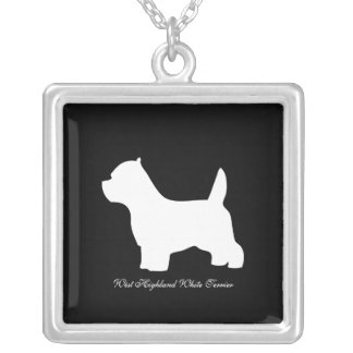 West Highland White Terrier dog, westie silhouette Square Pendant Necklace