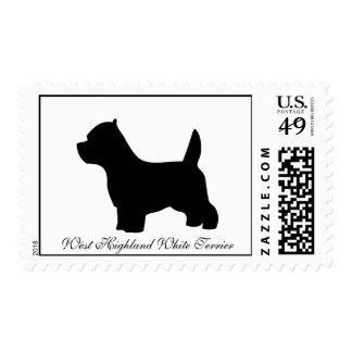 West Highland White Terrier dog, westie silhouette Postage
