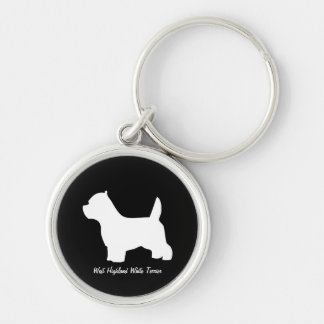 West Highland White Terrier dog, westie silhouette Silver-Colored Round Keychain
