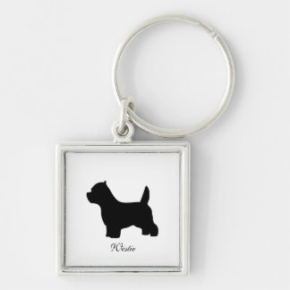 West Highland White Terrier dog, westie silhouette Silver-Colored Square Keychain