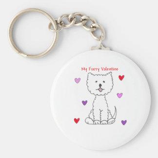 West Highland White Terrier Furry Valentine Basic Round Button Keychain