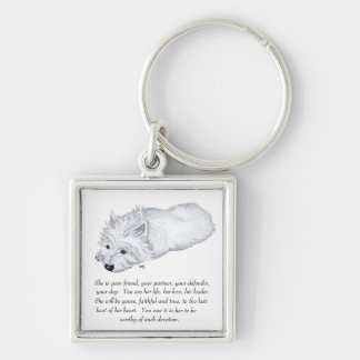 West Highland White Terrier Keepsake Silver-Colored Square Keychain