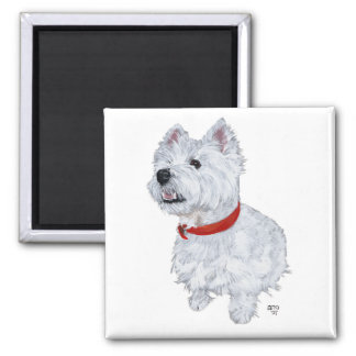 West Highland White Terrier - Looking Up 2 Inch Square Magnet