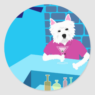 West Highland White Terrier Martini Bar Classic Round Sticker