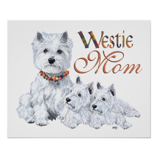 West Highland White Terrier Mom & Pups Print