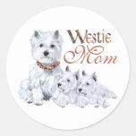 West Highland White Terrier Mom & Pups Round Sticker
