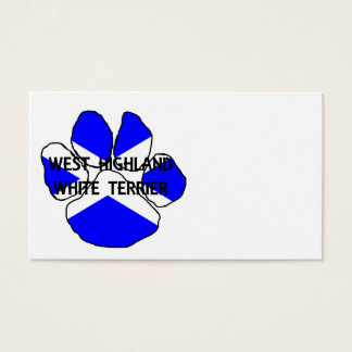 west highland white terrier name Scotland flag paw Business Card