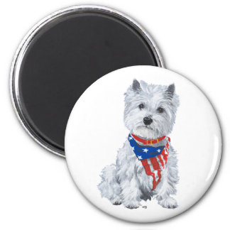 West Highland White Terrier Patriotic 2 Inch Round Magnet