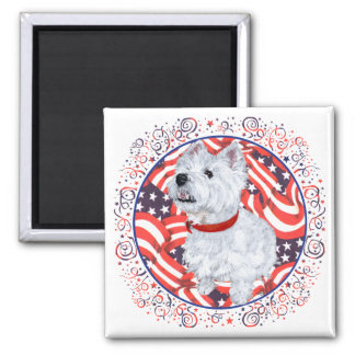 West Highland White Terrier Patriotic 2 Inch Square Magnet
