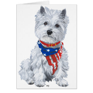 West Highland White Terrier Patriotic Greeting Card