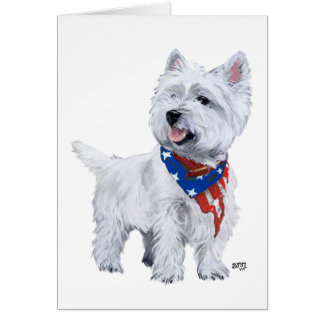 West Highland White Terrier Patriotic Card