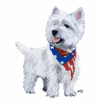West Highland White Terrier Patriotic Statuette