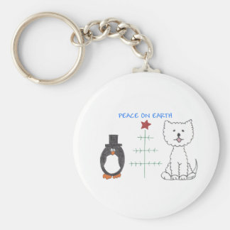 West Highland White Terrier Peace On Earth Basic Round Button Keychain