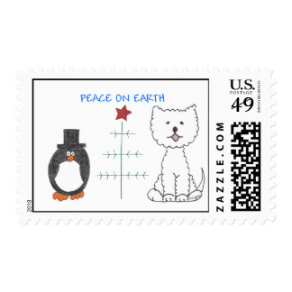 West Highland White Terrier Peace On Earth Postage