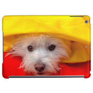 West Highland White Terrier peeking out of yellow Cover For iPad Air