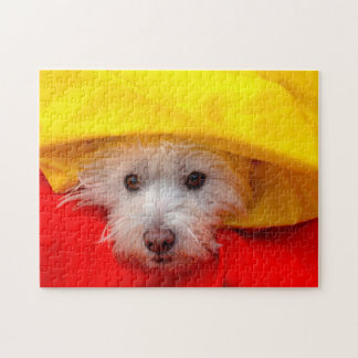 West Highland White Terrier peeking out of yellow Jigsaw Puzzle