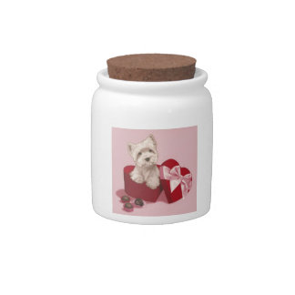 West Highland White Terrier Red Heart Box Candy Ja Candy Jar
