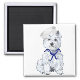 West Highland White Terrier Sailor 2 Inch Square Magnet