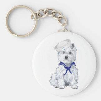 West Highland White Terrier Sailor Basic Round Button Keychain