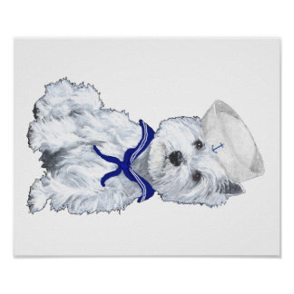 West Highland White Terrier Sailor Poster