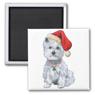 West Highland White Terrier Santa Claus 2 Inch Square Magnet
